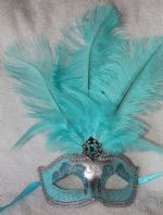 Turquoise and Silver Tall Feather Mask